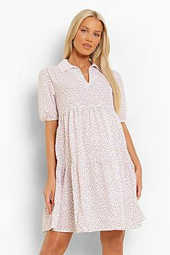 Maternity Collar Tiered Floral Smock Dress