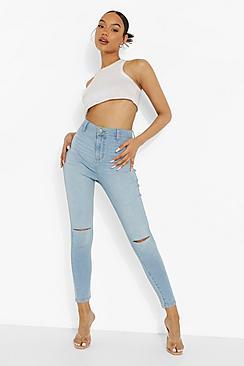 High Rise Disco Jean With Knee Slash