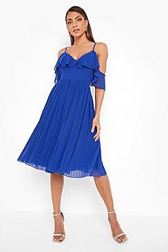 Cold Shoulder Ruffle Midi Bridesmaid Dress