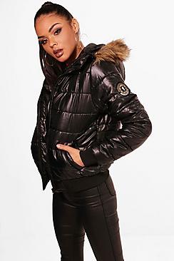 Faux Fur Hood Bubble Coat