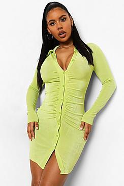 Textured Slinky Gathered Shirt Dress