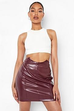 Panel Waist Detail Leather Look Mini Skirt