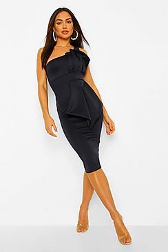 One Shoulder Pleated Detail Midi Dress