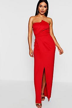 Bandeau Wrap Detail Split Maxi Dress