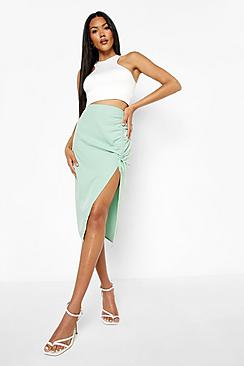 Woven Ruched Detail Midi Skirt