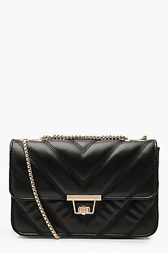 Quilted Faux Leather Cross Body Chain Bag