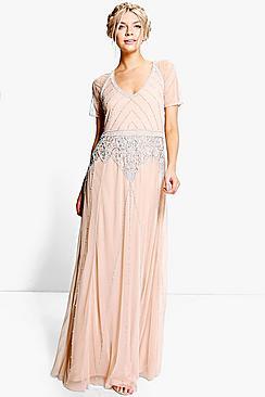 Boutique Beaded Cap Sleeve Maxi Bridesmaid Dress