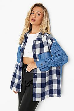 Checked Ruched Sleeve Oversized Shirt