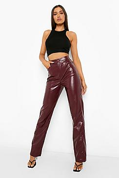 Thick Waistband Leather Look Pu Trousers