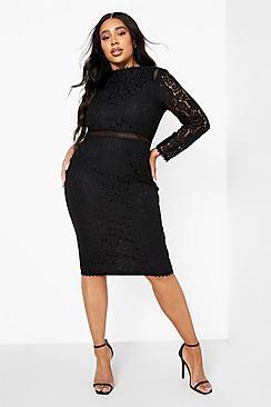 Plus Lace Long Sleeve Midi Dress