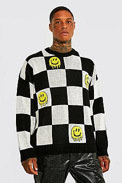 Drip Face Badge Oversized Check Knit Jumper