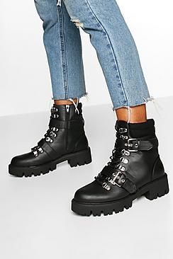 Buckle Detail Padded Cuff Hiker Boots