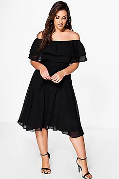 Plus Ruffle Tie Waist Skater Dress