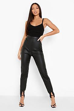 Tall Pu Coated Split Front Skinny Jean